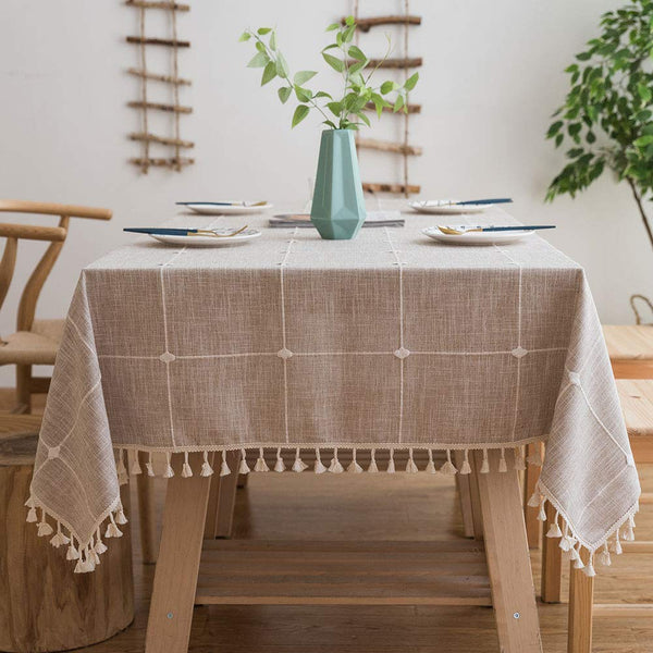 FanBell Tablecloths, Embroidered Checkered Table Cloth Cotton Linen Wrinkle Free Anti-Fading Table Cover Decoration for Kitchen Dinning Party
