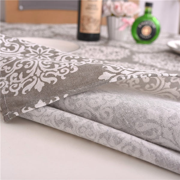 FanBell Grey Medallion Tablecloth Cotton Linen Dust-Proof Table Cover for Kitchen Dinning Tabletop Linen Decor (Rectangle/Oblong, 55 x 120Inch)