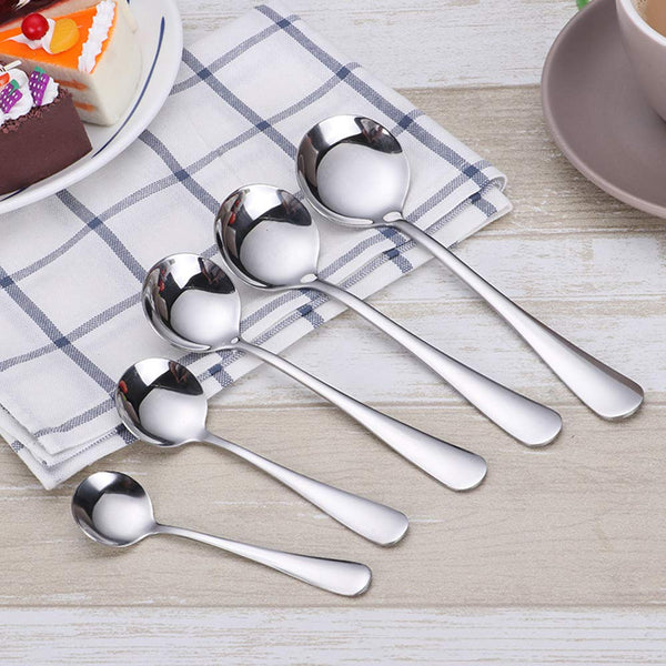 "4.5"" Stainless Steel Teaspoon,Set of 6,Round Spoons Use for Home, Kitchen or Restaurant"