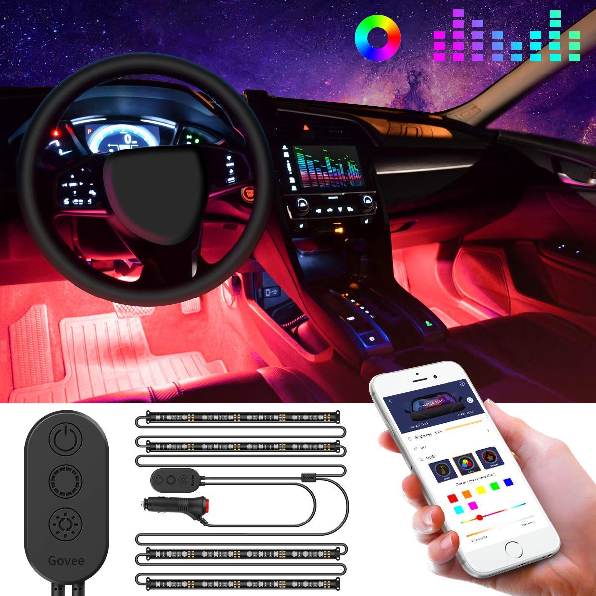 Interior Car Lights LED Strip Light Waterproof 4pcs 48 LED APP Controller Lighting Kits Multi DIY Color Music Under Dash Car Lighting with Car Charger