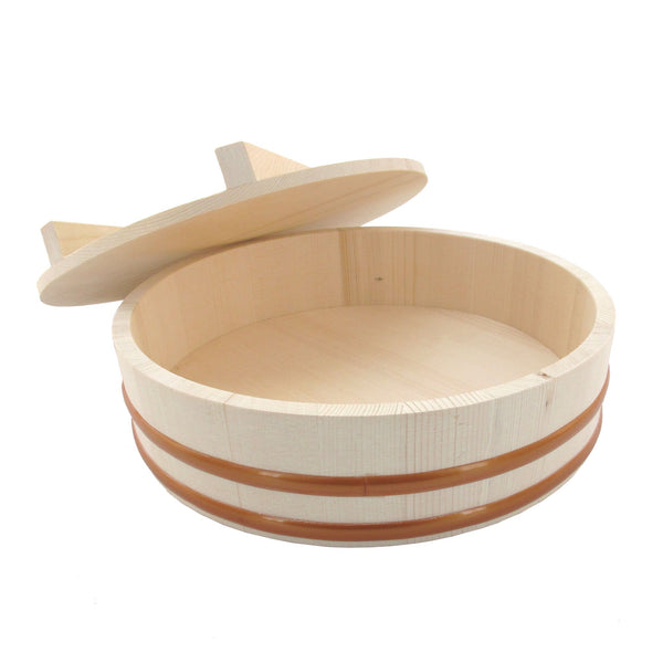"FanBell 10.6"" Hangiri Sushi Oke Rice Mixing Tub with Lid, 1 Piece"