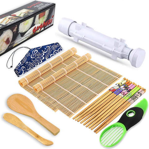Sushi Making Kit Bamboo Sushi Mat Sushi Bazooka Maker With Bamboo Mats Bamboo Chopsticks Avocado Slicer Paddle Spreader DIY Sushi Roller Machine