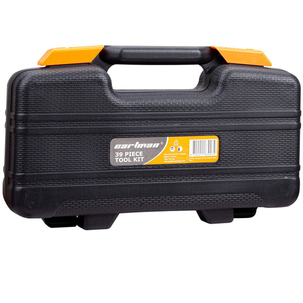 Orange 39-Piece Tool Set - General Household Hand Tool Kit with Plastic Toolbox Storage Case