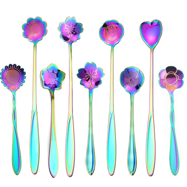 9 Pcs Flower Spoon Coffee Teaspoon Set, FanBell Stainless Steel Tea Spoon Dessert Spoon, Cute Demitasse Scoop for Stirring Drink Mixing Milkshake Jam