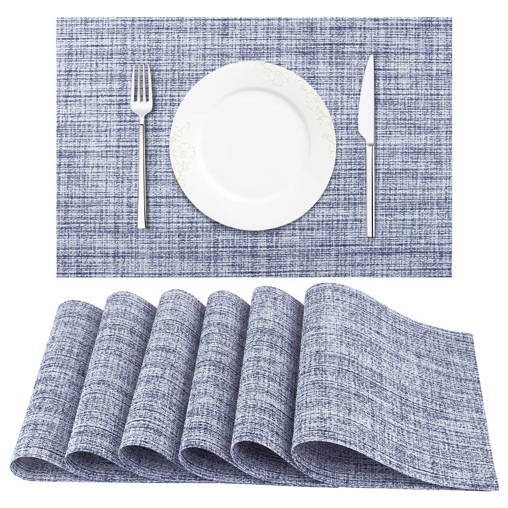 FanBell Placemats, Heat-Resistant Placemats Stain Resistant Anti-Skid Washable PVC Table Mats Woven Vinyl Placemats, Set of 6(Blue White)