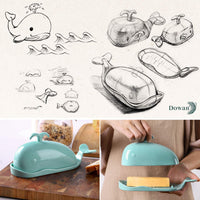 FanBell Porcelain Butter Dish, Whale Butter Dish with Lid, Handle, Butter Keeper with Cover, Measuring Line, Turquoise, Small