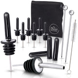 Liquor Bottle Pourers Set 8 Stainless Steel Pour Spouts 10 Long Dust Caps 2 Cocktail Picks Brush Storage Bag Metal Toppers Alcohol Bottles Olive Oil