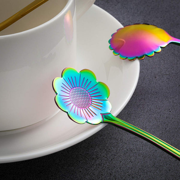 16 Pieces Flower Tea Spoon Set Rainbow Mixing Teaspoons Gold Flower Spoon for Coffee Tea Parties, 2 Color