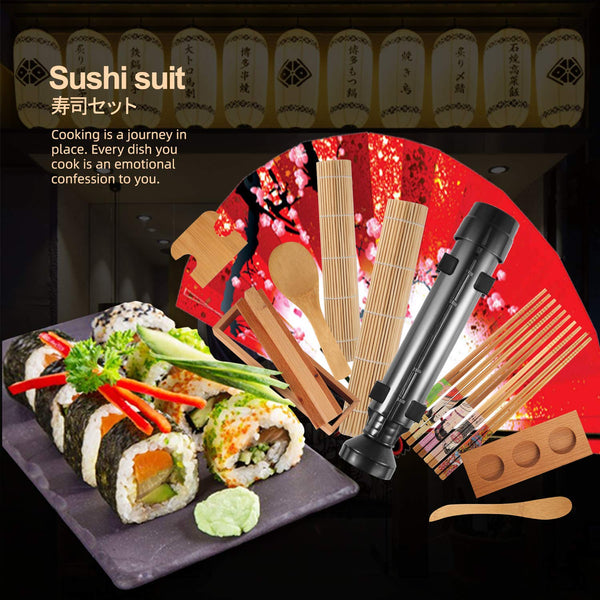 Sushi Making Tools Beginner Tools Set Include Sushi Rolling Pads Nori Rice Bamboo Curtain Roll Mats Equipment Chopsticks Rice Paddle and Rice Spreader