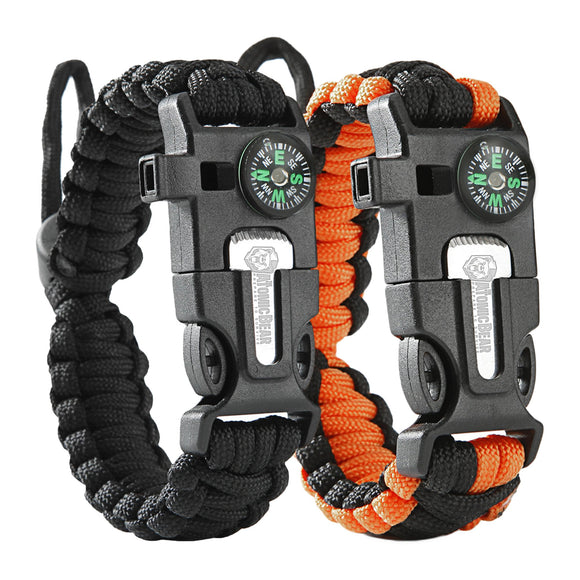 2pcs Paracord Bracelet Adjustable Size Fire Starter Loud Whistle Emergency Knife Perfect for Hiking Camping Fishing Hunting