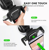 FanBell Easy One Touch 4 Dash & Windshield Car Mount Phone Holder Desk Stand Pad & Mat for iPhone, Samsung, Moto, Huawei, Nokia, LG, Smartphones