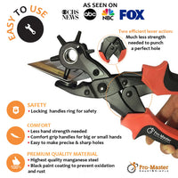 Leather Hole Punch Set for Belts Watch Bands, Straps Dog Collars Saddles Shoes Fabric DIY Home Craft Projects Rotary Puncher Multi Sizes Maker Tool