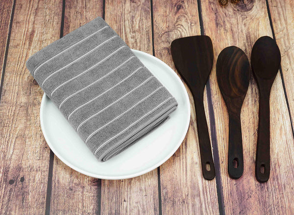 FanBell Microfiber Kitchen Towels, Stripe Designed, Soft and Super Absorbent Dish Towels, Pack of 8, 26 x 18 Inch, Gray and White