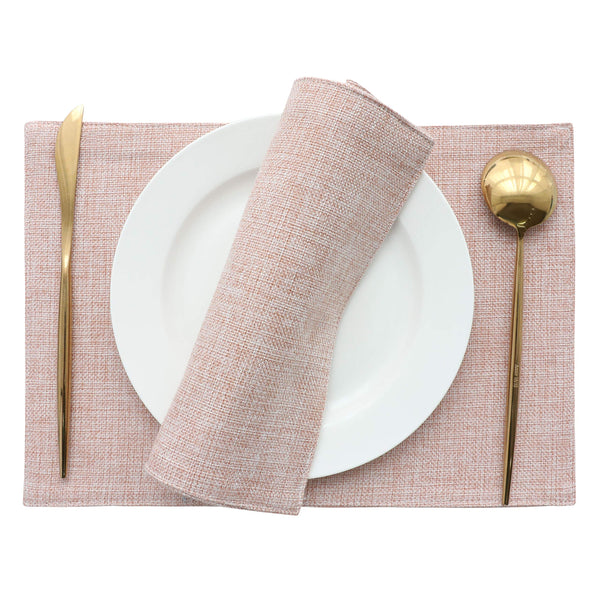 FanBell Placemats Set of 4 Heat Resistant Dining Table Place Mats for Kitchen Table Wedding Party, 13 x 19 inches, Pink