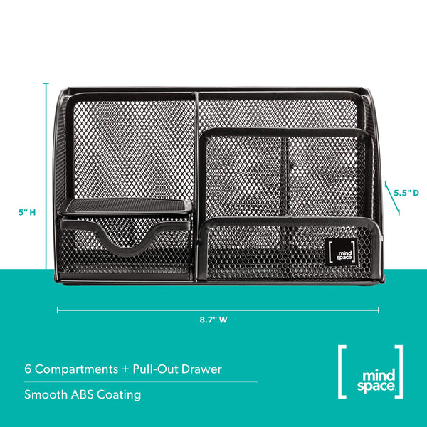 Office Desk Organizer with 6 Compartments + Drawer | The Mesh Collection, Black