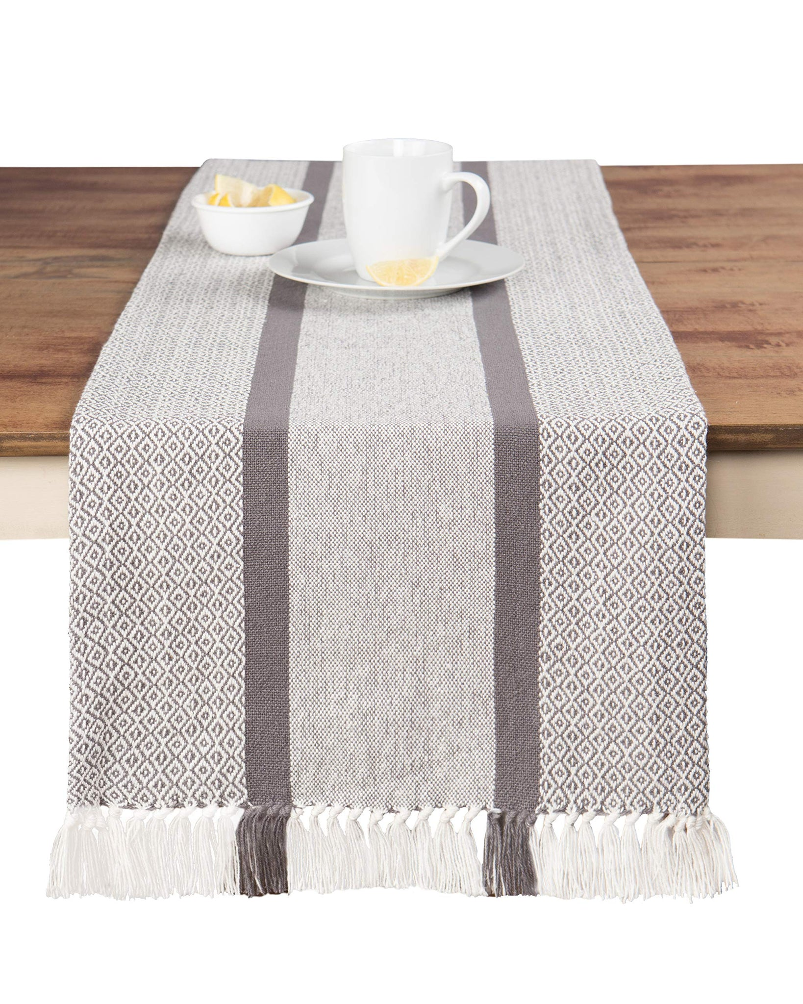 FanBell Cotton Woven Table Runner with Fringe, Traditional Diamond, Gray, 14 in x 72 in