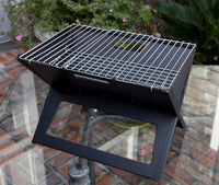 Black Notebook Charcoal Grill Heavy Duty 14 Inch Steel Construction Outdoor Barbecues Camping Tailgating Traveling Charcoal Rack Folding Grill