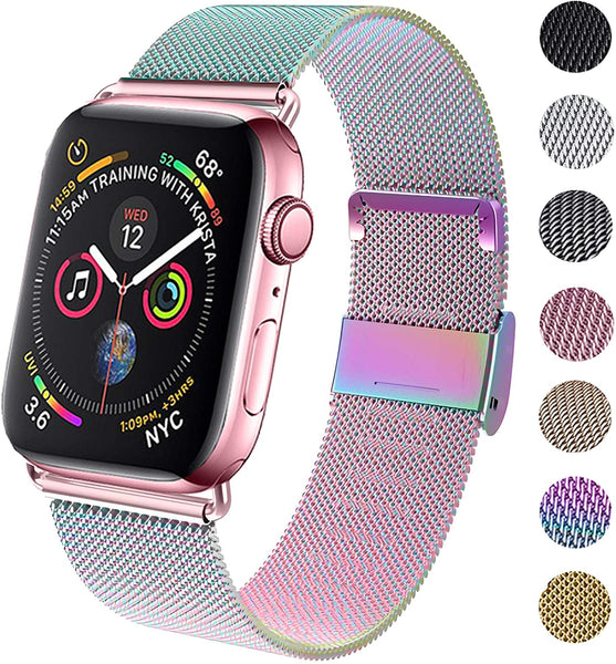 Compatible for Apple Watch Band 38mm 40mm 42mm 44mm, Wristband Loop Replacement Band for Iwatch Series 4,Series 3,Series 2,Series 1,Black,38mm/40mm
