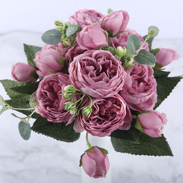 FanBell 30cm Rose Pink Silk Peony Artificial Flowers Bouquet 5 Big Head and 4 Bud Cheap Fake Flowers for Home Wedding Decoration indoor