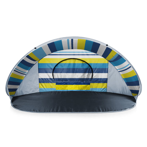 Manta Portable Beach Tent (Blue, White, & Yellow Beach Stripe)