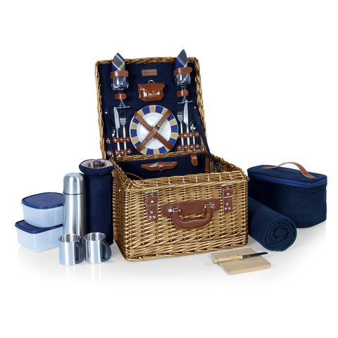Canterbury Picnic Basket, (Navy Blue)