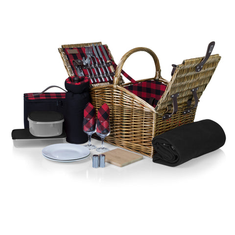 Somerset Picnic Basket (Red & Black Buffalo Plaid Pattern)