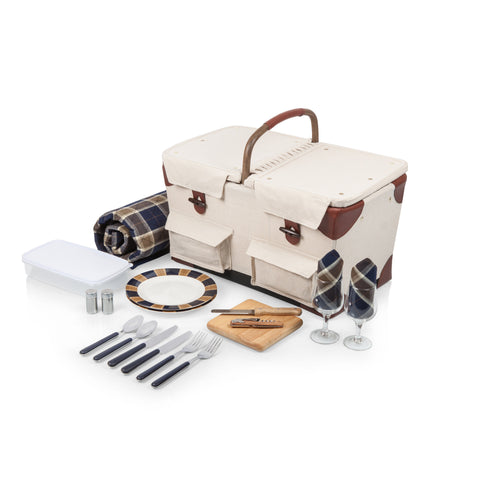 Pioneer Picnic Basket (Beige Canvas with Navy Blue & Brown Accents)