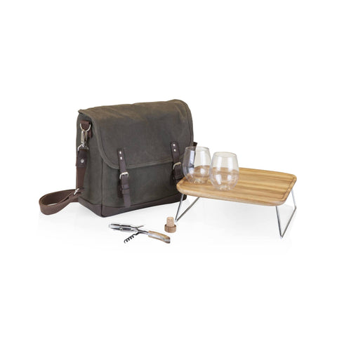 Adventure Wine Tote (Khaki Green with Brown Accents)