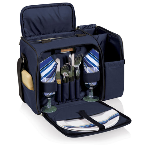 Malibu Picnic Basket Cooler (Navy Blue with Black Accents)