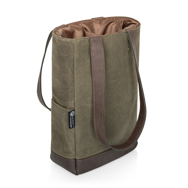 2 Bottle Insulated Wine Cooler Bag (Khaki Green with Beige Accents)