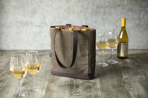 3 Bottle Insulated Wine Cooler Bag (Khaki Green with Beige Accents)
