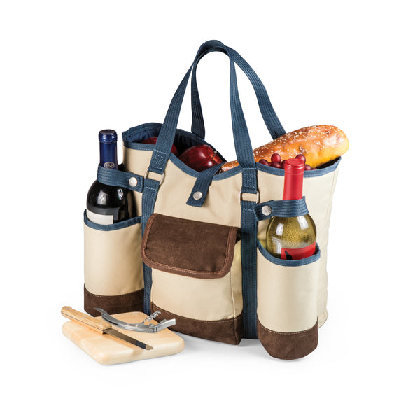 Wine Country Tote – Wine & Cheese Picnic Tote (Beige Canvas with Navy Blue & Brown Accents)