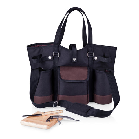 Wine Country Tote – Wine & Cheese Picnic Tote (Black with Burgundy Accents)