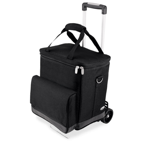 Cellar 6-Bottle Wine Carrier & Cooler Tote with Trolley (Black with Gray Accents)