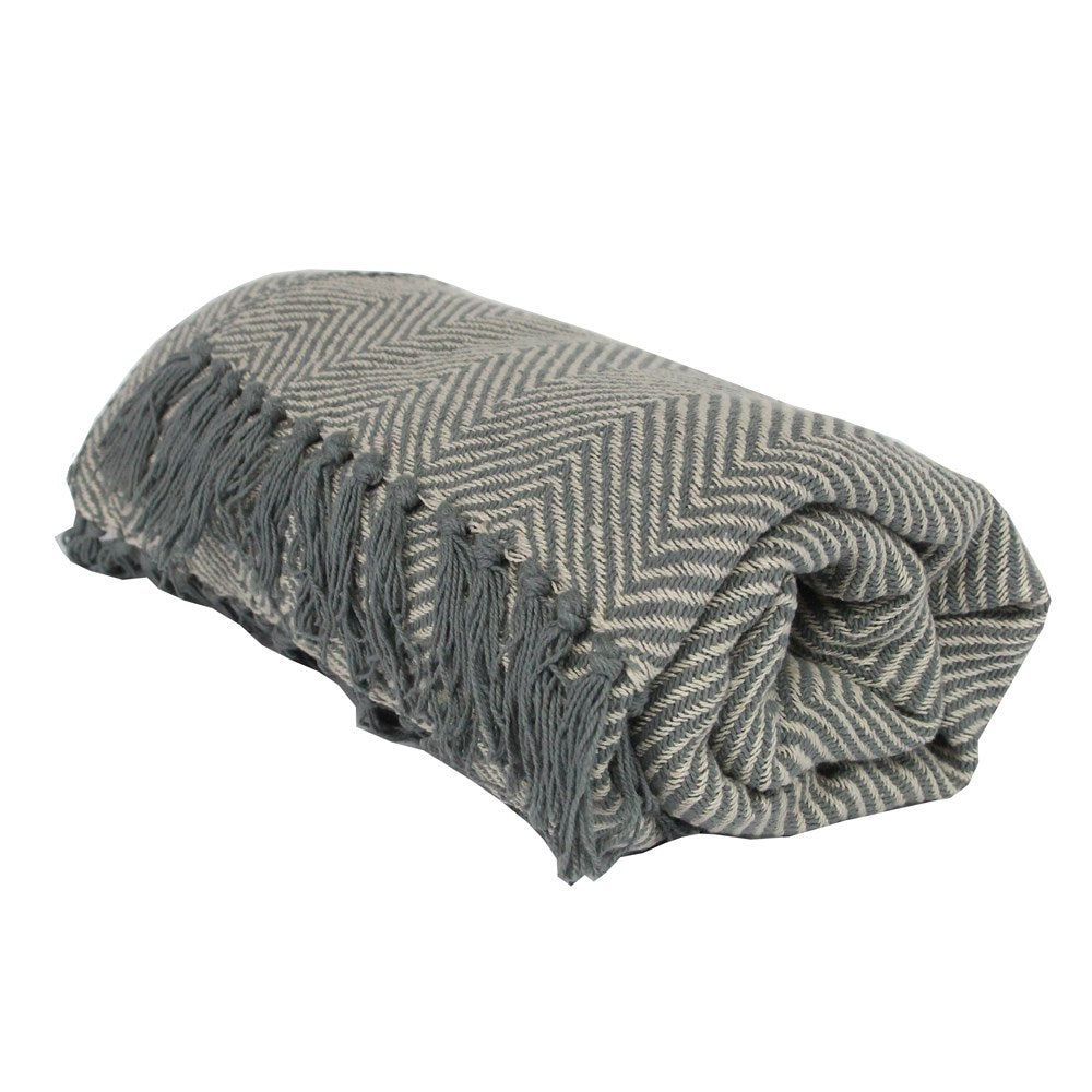 GG Chevron Throw - Light Grey