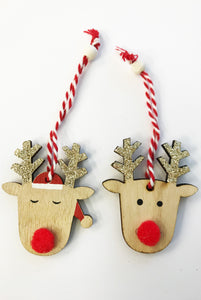 HS Wooden Reindeer Pom Pom with Glitter