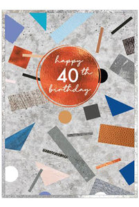 40th Cobalt Copper Birthday Card