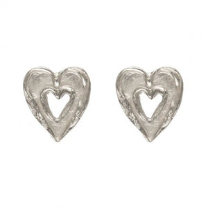 Alison Moore Silver Double Heart Studs