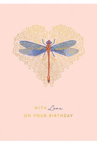 With Love on Your Birthday Dragonfly Card