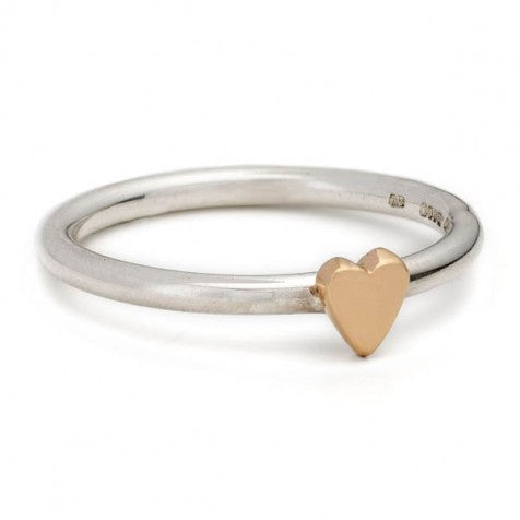 Alison Moore Lunar Silver and Rose Gold Heart Ring