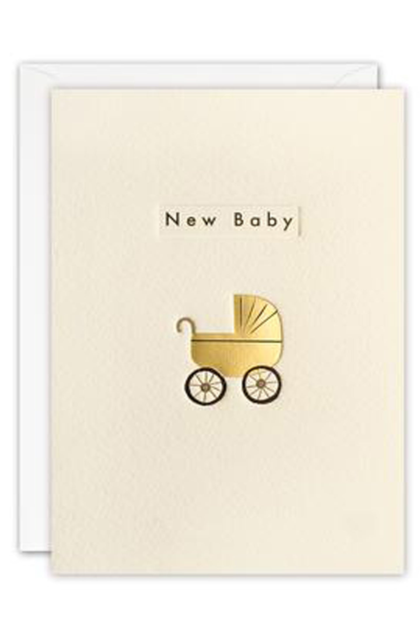 JE New Baby Gold Pram Card
