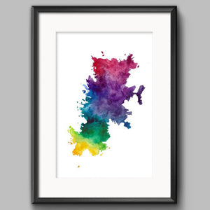 Sarah Leask A4 Print - Fair Isle Map - Rainbow