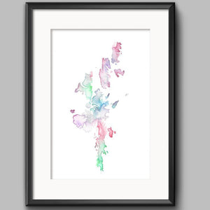 Sarah Leask A5 Print - Shetland Map - Multi