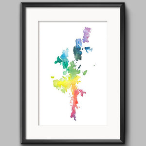 Sarah Leask Print - Shetland Map - Rainbow