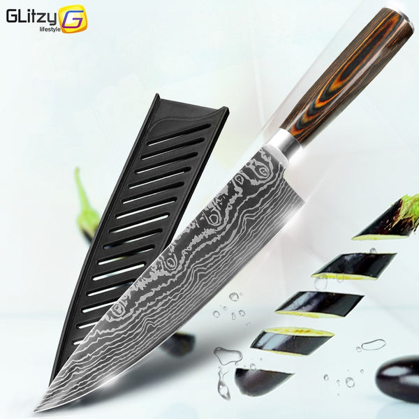 Kitchen Knives 8 Inch Japanese Chef 7CR17 440C Gyuto Stainless Steel Damascus Drawing Meat Cleaver Slicer Santoku Cutter Set
