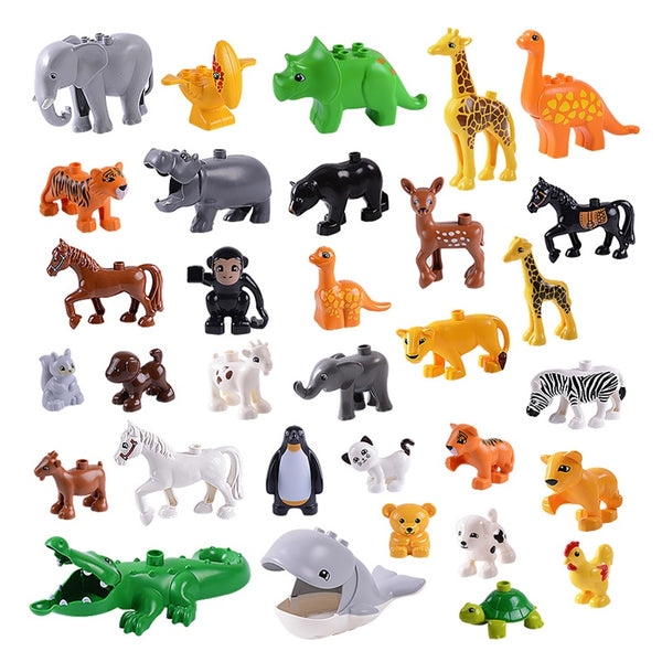 Animal Series Model Figures Big Building Blocks Compatible LEGOs Duplos Bricks Animals Parts Educational Toys Kids Children Gift