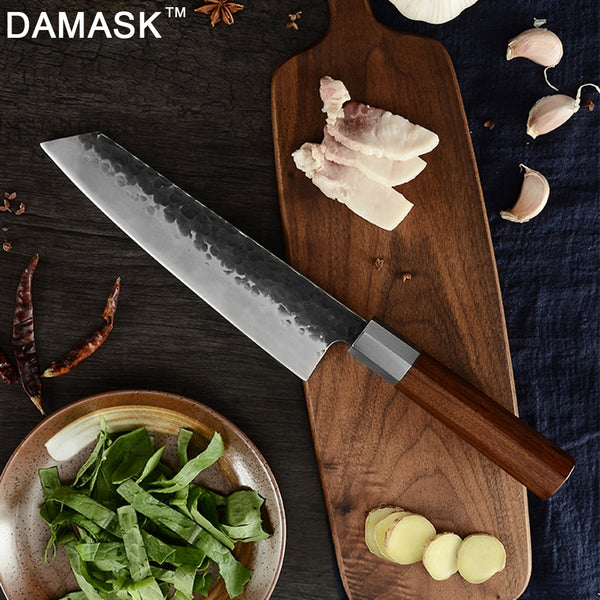 DAMASK Japanese Forged Kitchen Knife Kirisuke Handmade Slicing Chef Knives High Carbon Sharp Blade Wood Handle Cooking Tools