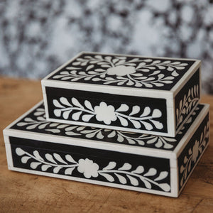 Open image in slideshow, Floral Bone Inlay Decorative Box