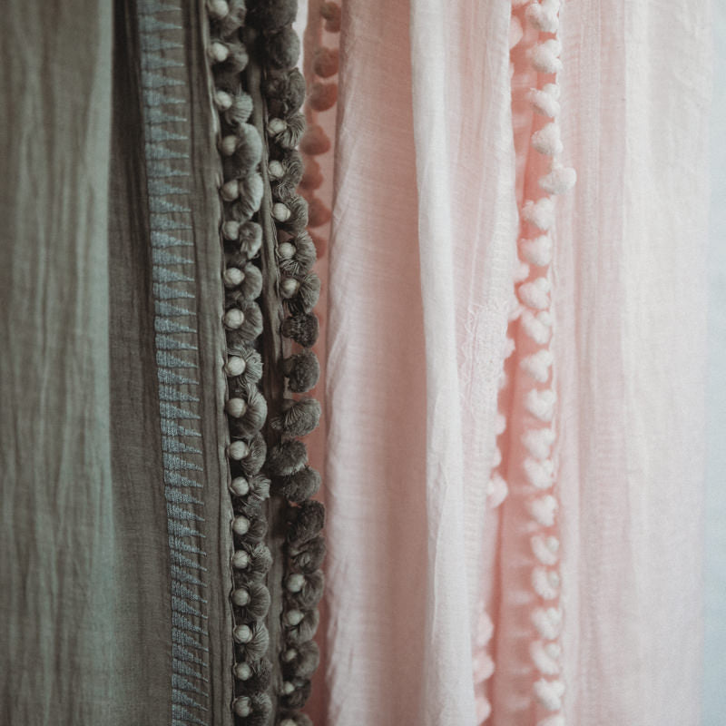 Taupe and Soft Pink Pom Pom Scarves