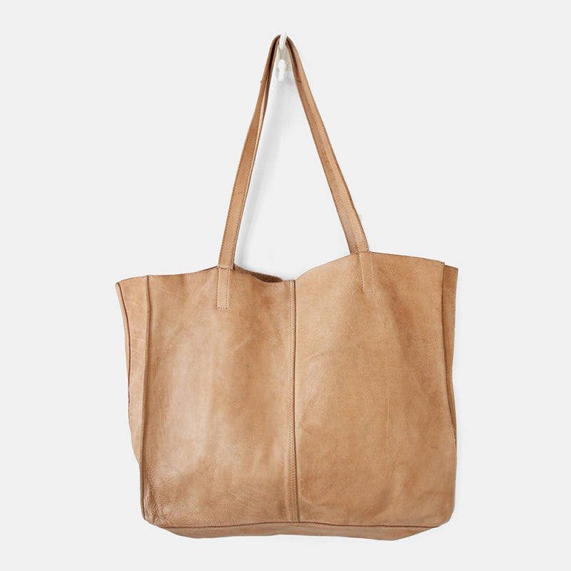 Juju & Co unlined leather tote - natural